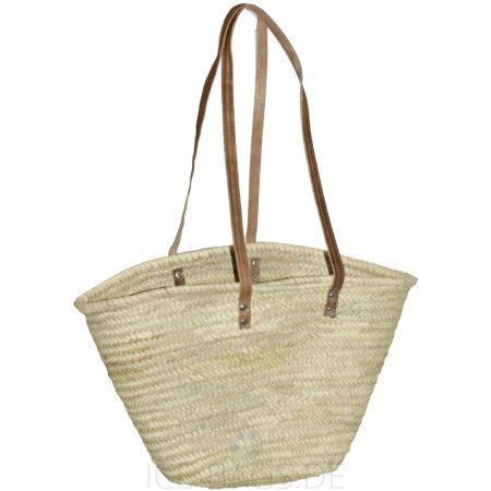 1099-20 Ibiza Strandtasche Beachbag Basttasche Palmblatt natur mit Schulterhenkeln